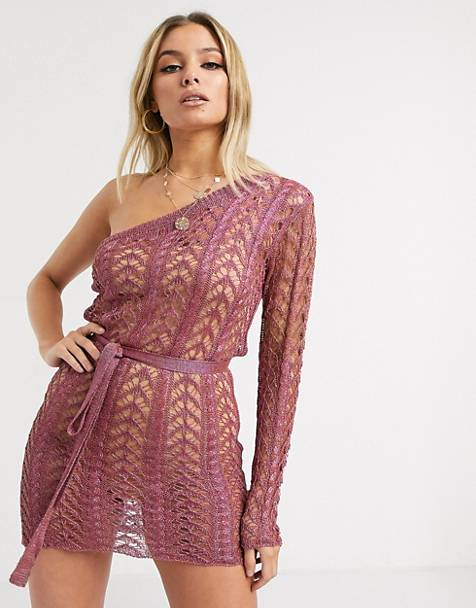 Sorelle one shoulder knitted shimmer mini dress in rose gold