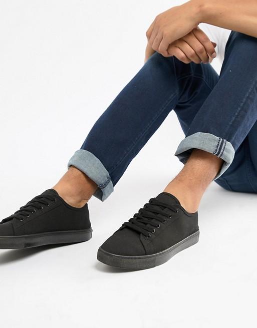 Sorte sneakers i kanvas fra ASOS DESIGN