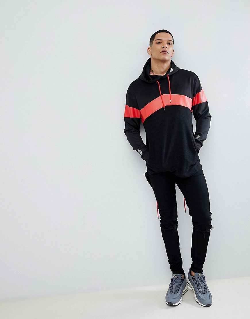 Soul Star Long Line Back Zip Stripe Hoodie by Hoodie