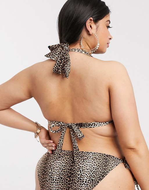 South Beach Curve Mix and Match Haut de bikini dos nu à imprimé animal Exclusivité ASOS