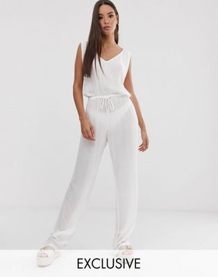 South Beach Exclusive drawstring beach jumpsuit in white