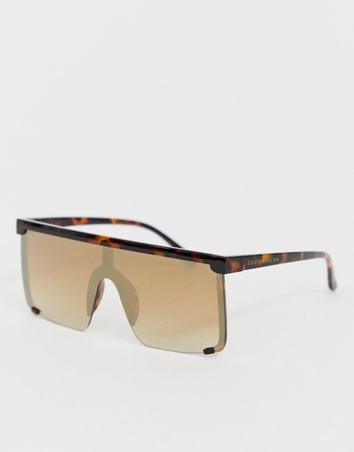 Image 1 of South Beach Exclusive tortoiseshell shield sunglasses