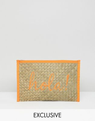 South Beach Hola! Straw Clutch Bag