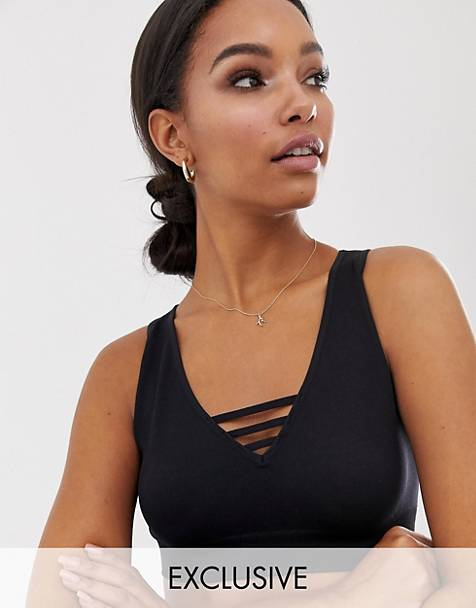 South Beach lattice detail bra top in black