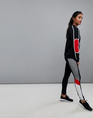 Image 1 of South Beach Mesh Panel Legging In Black And Red