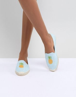 South Beach Pineapple Embroidered Espadrilles
