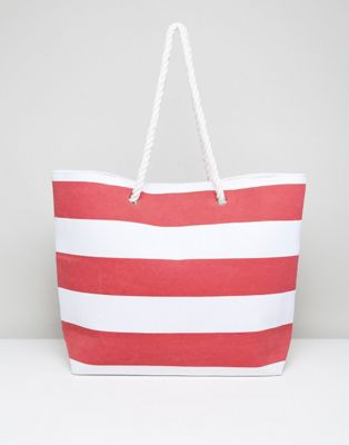 South Beach Red Stripe Beach Bag