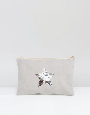 Image 1 of South Beach Washed Grey Clutch Bag With Silver Star