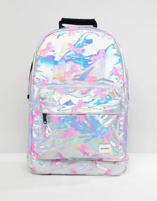 Spiral Holographic Backpack With Pink Unicorn Print by Spiral