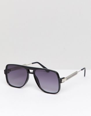Spitfire – Eckige, schwarze Sonnenbrille
