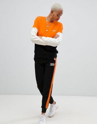 Спортивные брюки с контрастными полосками и логотипом Fila
