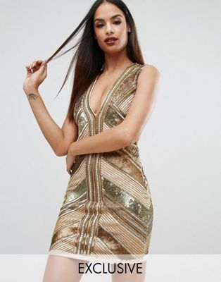 Starlet - Mini-jurk in panelen, met lovertjes