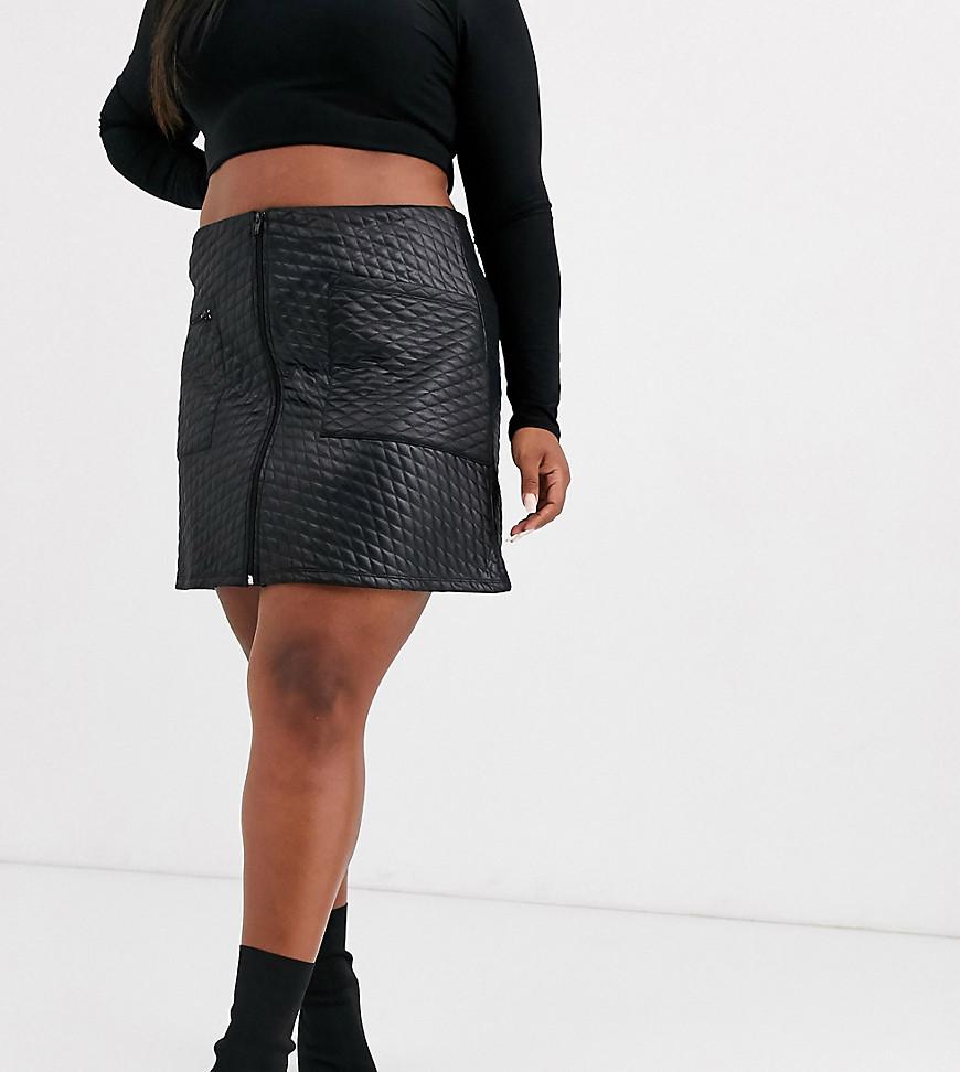 Стеганая мини-юбка из искусственной кожи с молнией ASOS DESIGN Curve-Черный ASOS Curve
