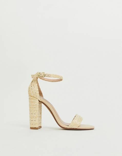 50059287673 Steve Madden Carrson natural raffia straw heeled sandals