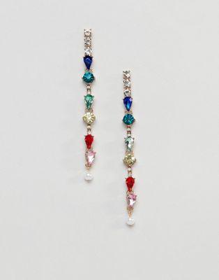 Steve Madden linear geo stone earrings