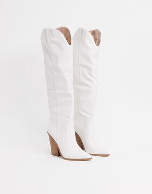Steve Madden Ranger knee high western boot in white - ASOS Price Checker