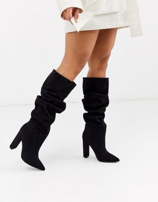 Steve Madden Slouch Heeled Knee High Boots In Black by Steve Madden