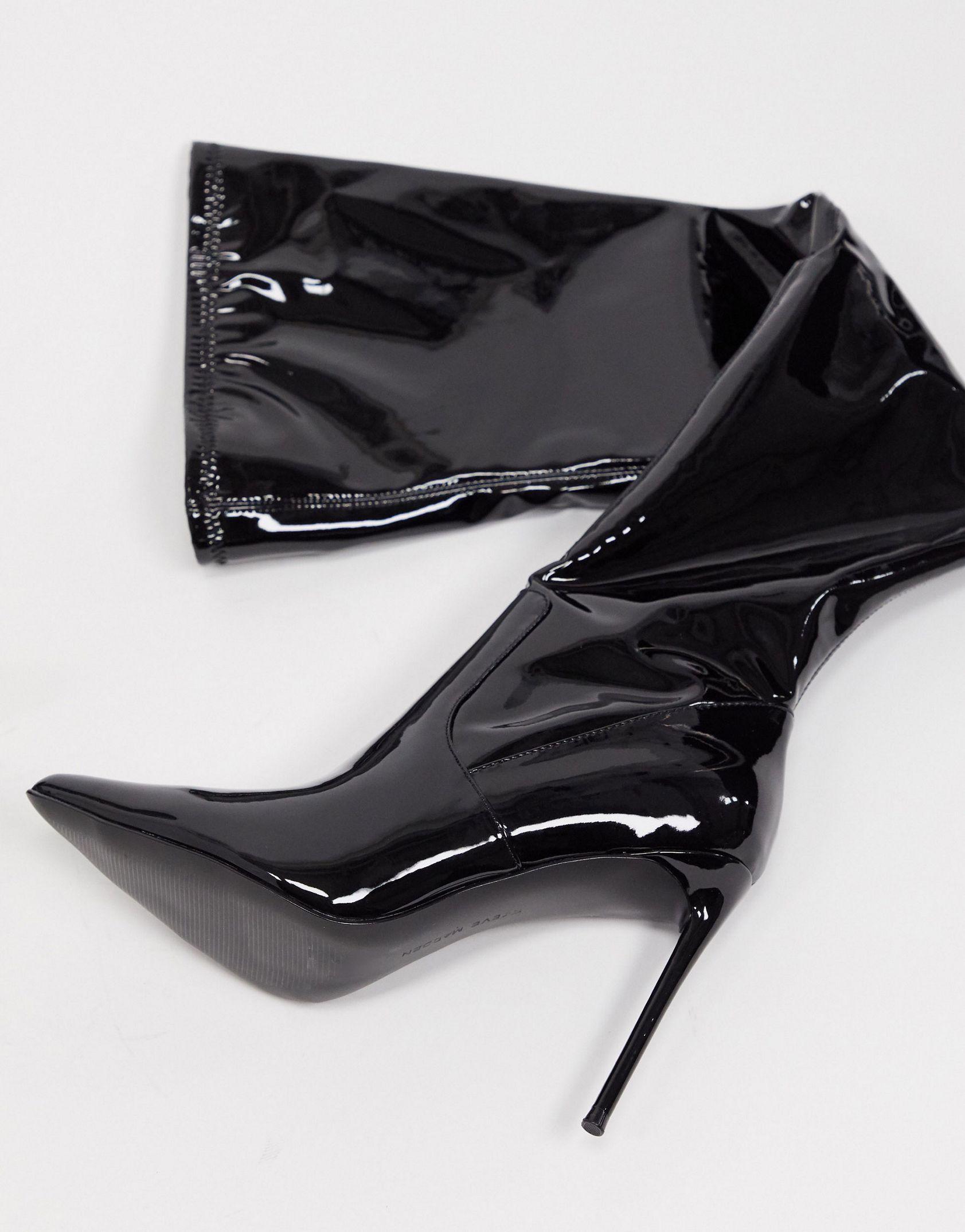 Steve Madden Vava thigh high boot in black patent -  Price Checker