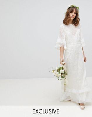 Stevie May - Exclusieve geborduurde lange jurk met geplooide ruches