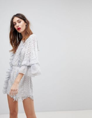 Stevie May Floral Lace Romper