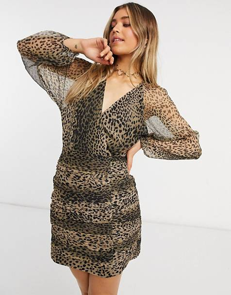 Stevie May new light long sleeve mini dress in leopard