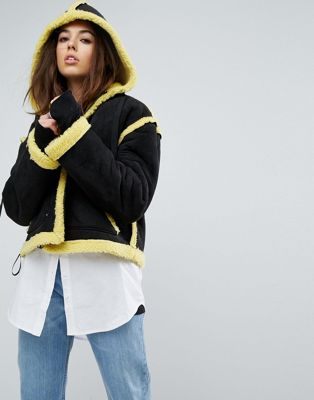 Story Of Lola Faux Shearling Jacket With Contrast Seams
