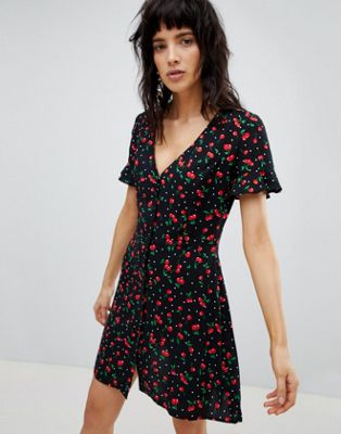 Stradivarius Button Front Loose Skirt Cherry Print Dress