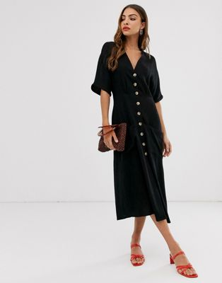 Stradivarius button front midi dress in black