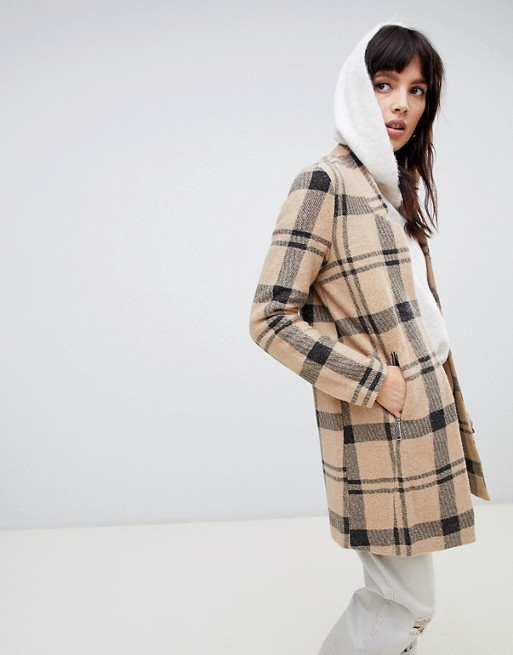 Stradivarius double button check coat