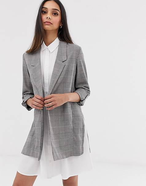 Stradivarius flowy blazer in checks