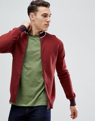 Stradivarius Full Zip Knit Cardigan In Burgundy