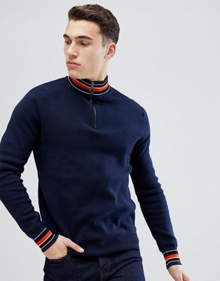 Stradivarius Half Zip Jumper In Navy