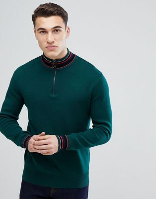 Stradivarius Half Zip Knit Jumper In Green