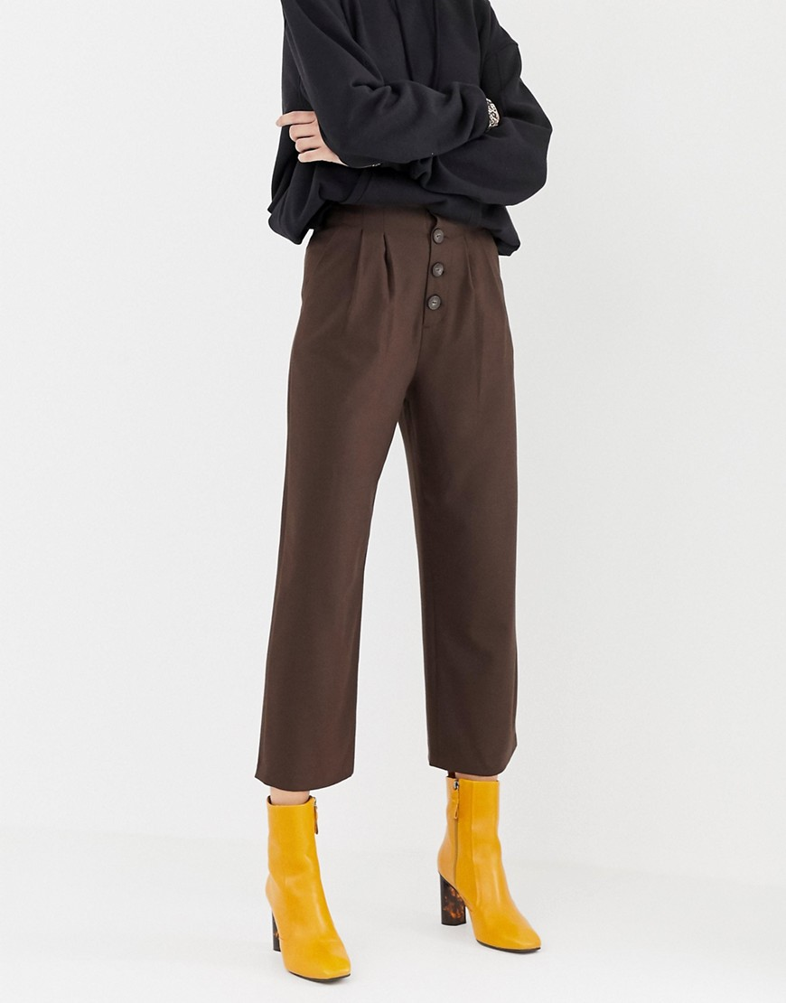 Stradivarius High Waisted Wide Leg Pants With Button Detailing by Stradivarius