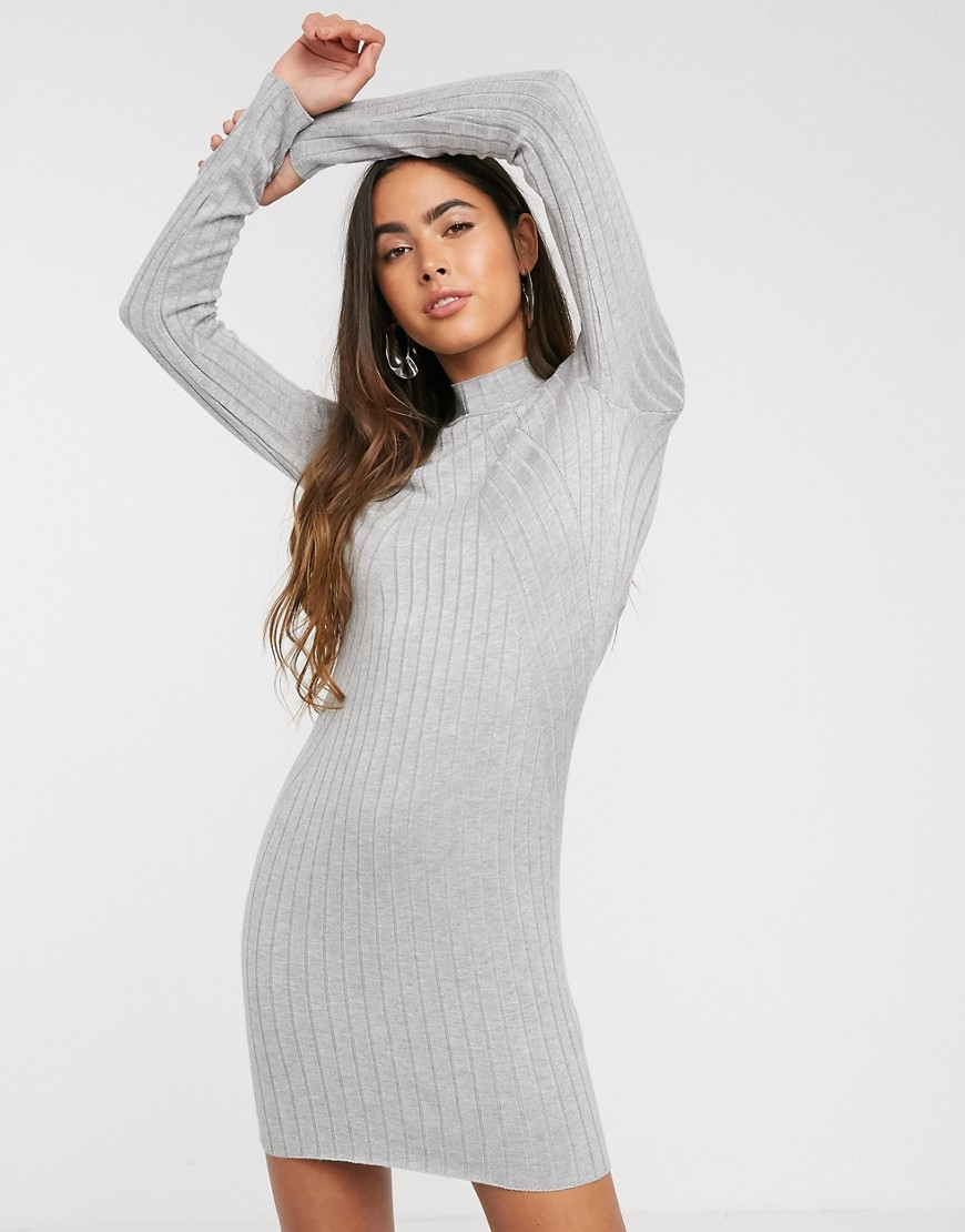 stradivarius knitted jumper dress in grey
