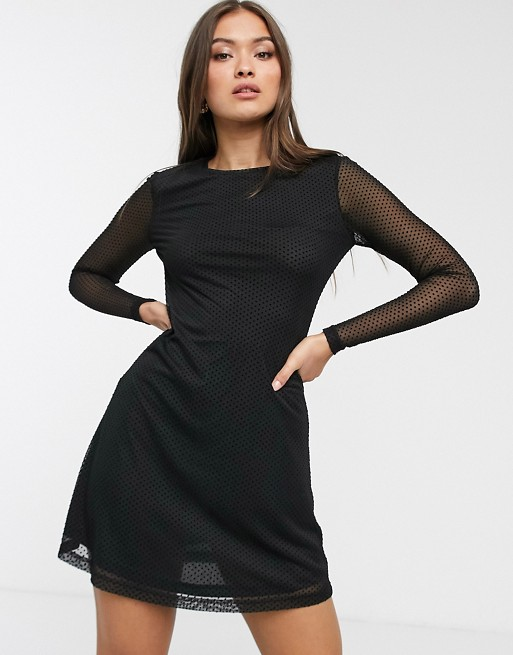 Stradivarius long sleeve tulle mini dress with black dots