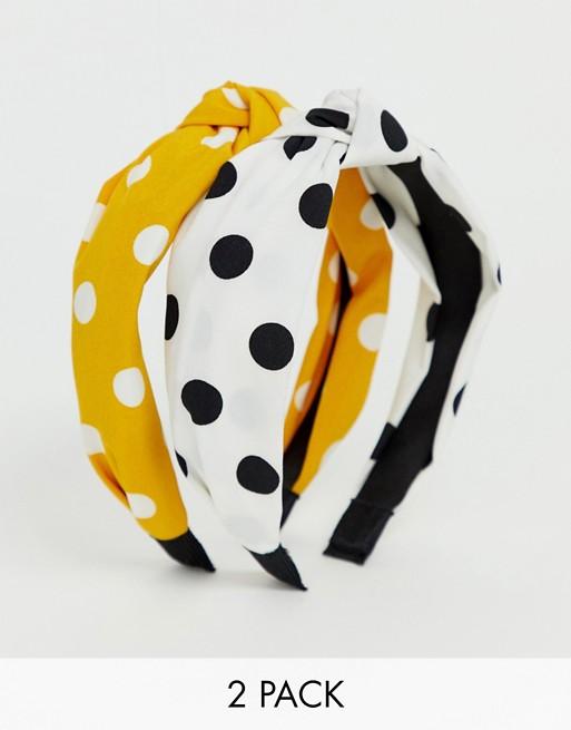 Bild 1 von Stradivarius – Mehrfarbig gepunktete Kopfbänder im Zweierpack