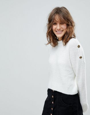 Image 1 of Stradivarius Oversize Crop Jumper With Button Detail