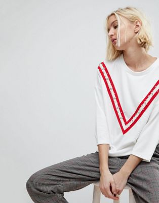 Stradivarius Oversized Tee With Embellished Arm