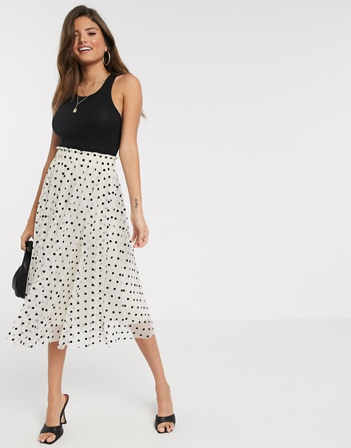 Stradivarius pleated midi skirt in beige with black dots