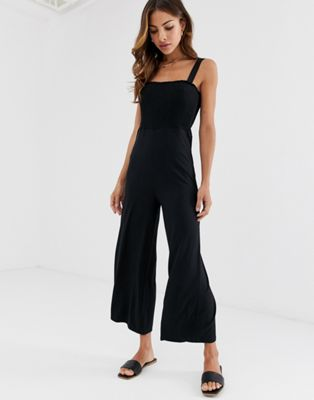 Image 1 of Stradivarius shirred jersey jumpsuit in black