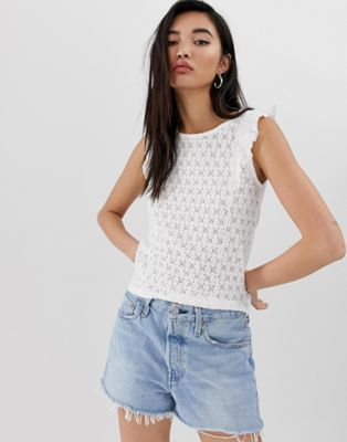 Stradivarius sleeveless top with embroidery frill in white