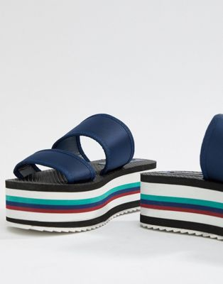 Stradivarius Stripe Flatform Sliders