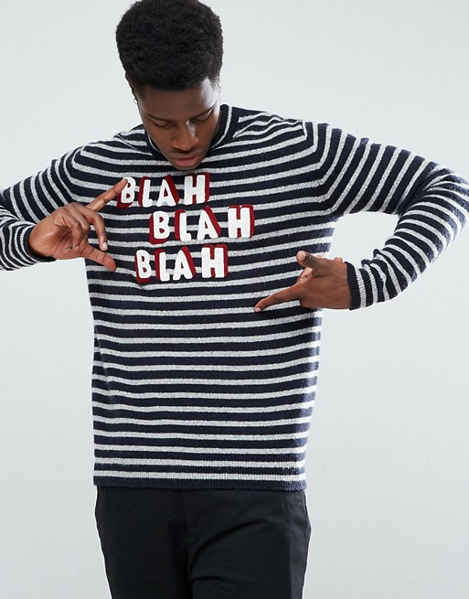 Stradivarius Stripe Slogan Sweater in Navy