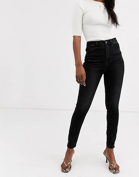 Stradivarius super high waist skinny jean in black