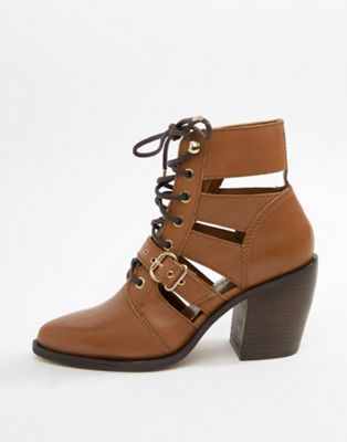 Stradivarius tie up cut out ankle boot
