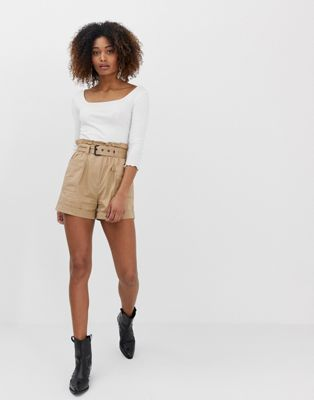 Stradivarius utility shorts in beige