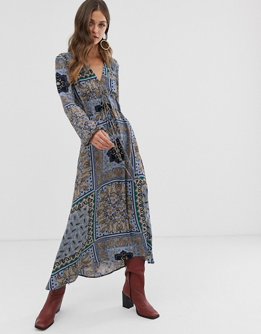 Image 1 of Stradivarius v neck midi dress in multi