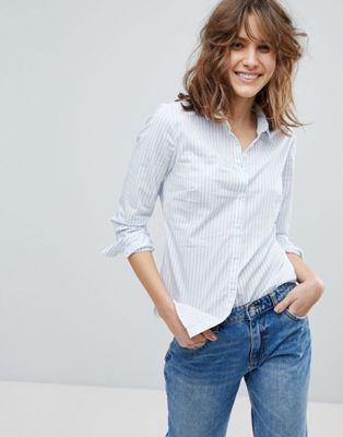 Image 1 of Stradivarius White Based Stripe Shirt