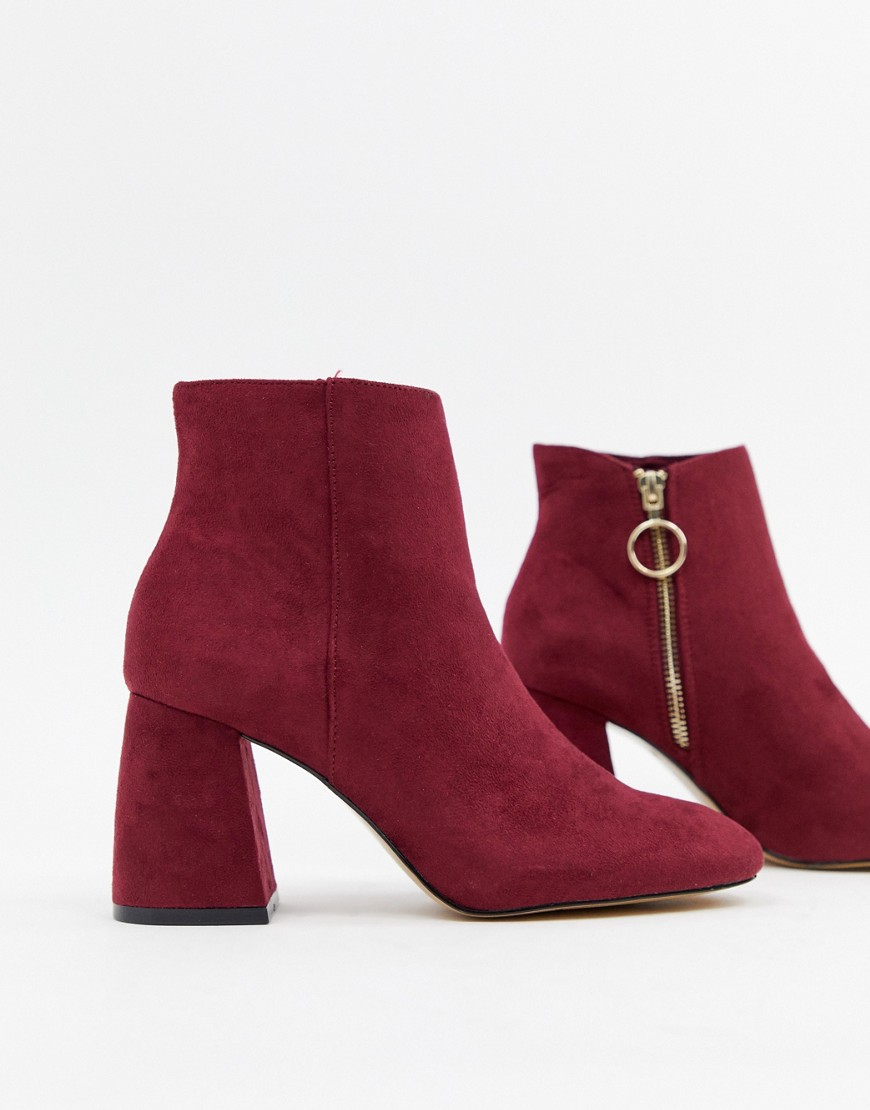 Stradivarius Zip Detail Heeled Ankle Boot by Stradivarius